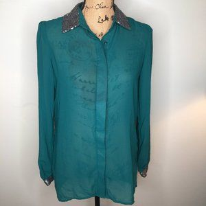 ❄Apt. 9 Teal Green Sequin Button Down Blouse